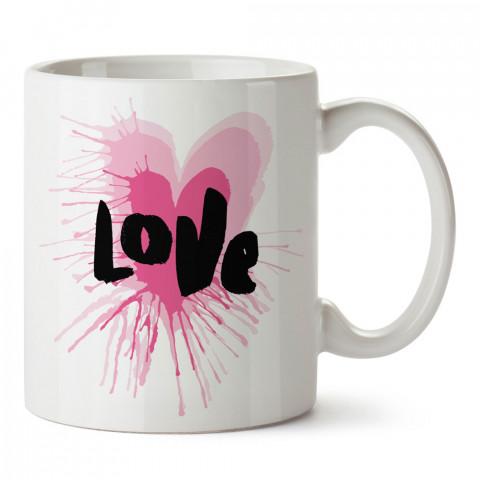 Love Yazılı Pembe Sulu Boya Kalp Aşk tasarım baskılı porselen kupa bardak (mug). Sevgiliye hediye aşk içerikli bardaklar. Sevgiliye fincan. Sevgili için kahve kupası.