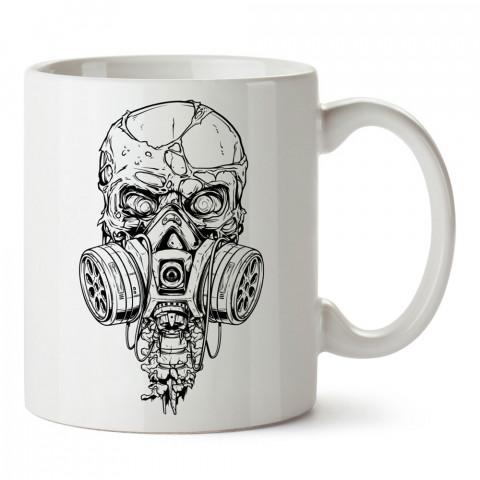 Gaz Maskeli Siyah Beyaz Kuru Kafa tasarım baskılı kupa bardaklar. Kuru Kafa hediyelik mug bardak. Skull tasarım kahve kupası. Kuru Kafa hediye fikirleri. Kuru Kafa resim.