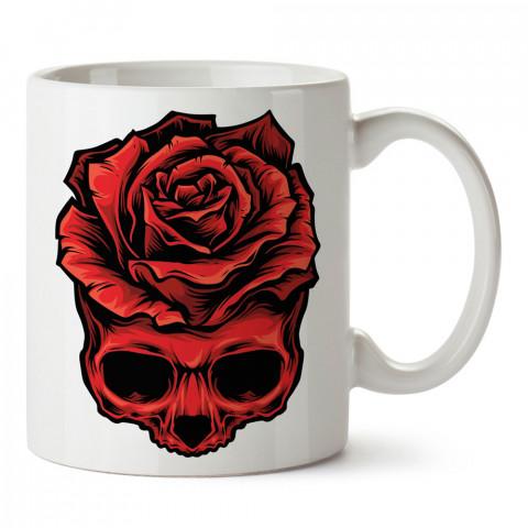 Gül Kuru Kafa tasarım baskılı kupa bardaklar. Kuru Kafa hediyelik mug bardak. Skull tasarım kahve kupası. Kuru Kafa hediye fikirleri. Kuru Kafa resim.
