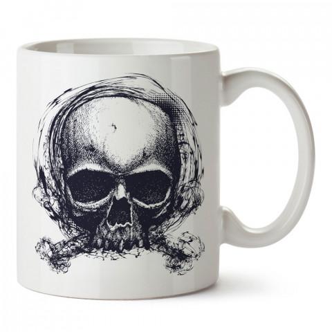 Karakalem Kuru Kafa tasarım baskılı kupa bardaklar. Kuru Kafa hediyelik mug bardak. Skull tasarım kahve kupası. Kuru Kafa hediye fikirleri. Kuru Kafa resim.