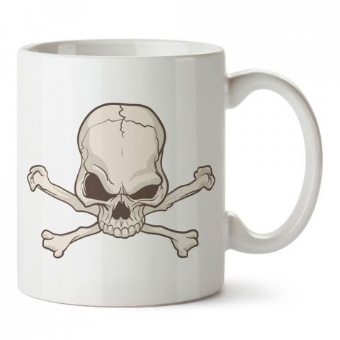 Kemikli Kuru Kafa tasarım baskılı kupa bardaklar. Kuru Kafa hediyelik mug bardak. Skull tasarım kahve kupası. Kuru Kafa hediye fikirleri. Kuru Kafa resim.