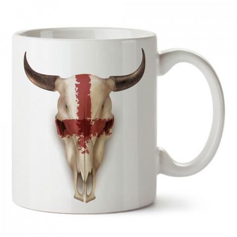 Kırmızı Çizgili Bufalo Kuru Kafa tasarım baskılı kupa bardaklar. Kuru Kafa hediyelik mug bardak. Skull tasarım kahve kupası. Kuru Kafa hediye fikirleri. Kuru Kafa resim.
