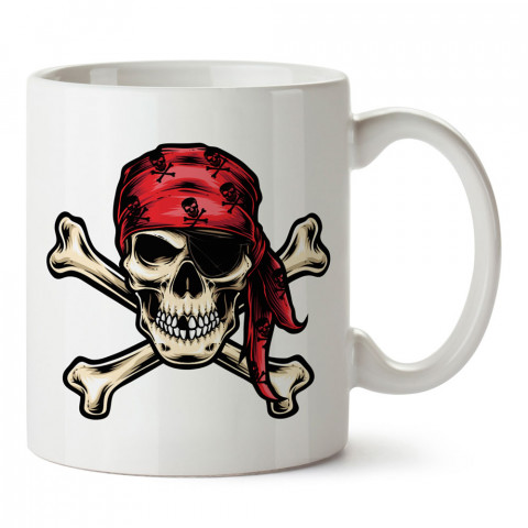 Kırmızı Bandanalı Korsan Kuru Kafa baskılı kupa bardaklar. Kuru Kafa hediyelik mug bardak. Skull tasarım kahve kupası. Kuru Kafa hediye fikirleri. Kuru Kafa resim.