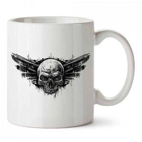 Kuru Kafa Havacı Amblemi tasarım baskılı kupa bardaklar. Kuru Kafa hediyelik mug bardak. Skull tasarım kahve kupası. Kuru Kafa hediye fikirleri. Kuru Kafa resim.