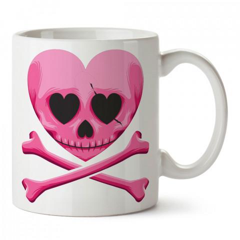 Pembe Kalp Kuru Kafa tasarım baskılı kupa bardaklar. Kuru Kafa hediyelik mug bardak. Skull tasarım kahve kupası. Kuru Kafa hediye fikirleri. Kuru Kafa resim.
