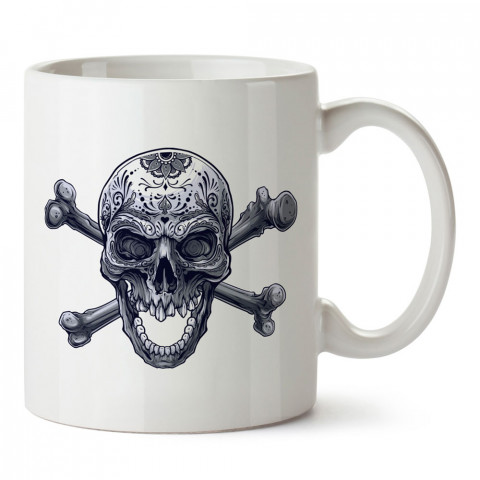 Siyah Beyaz Kemikli Kuru Kafa tasarım baskılı kupa bardaklar. Kuru Kafa hediyelik mug bardak. Skull tasarım kahve kupası. Kuru Kafa hediye fikirleri. Kuru Kafa resim.