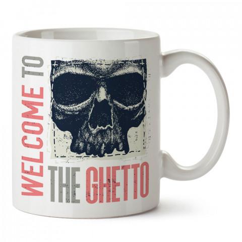 The Ghetto Kuru Kafa tasarım baskılı kupa bardaklar. Kuru Kafa hediyelik mug bardak. Skull tasarım kahve kupası. Kuru Kafa hediye fikirleri. Kuru Kafa resim.