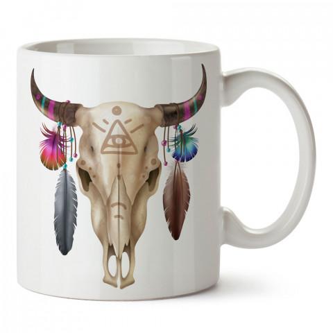 Tüy Boynuzlu Bufalo Kuru Kafa tasarım baskılı kupa bardaklar. Kuru Kafa hediyelik mug bardak. Skull tasarım kahve kupası. Kuru Kafa hediye fikirleri. Kuru Kafa resim.