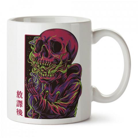 Uzak Doğulu Kuru Kafa tasarım baskılı kupa bardaklar. Kuru Kafa hediyelik mug bardak. Skull tasarım kahve kupası. Kuru Kafa hediye fikirleri. Kuru Kafa resim.