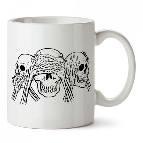Üç Maymun Kuru Kafa tasarım baskılı kupa bardaklar. Kuru Kafa hediyelik mug bardak. Skull tasarım kahve kupası. Kuru Kafa hediye fikirleri. Kuru Kafa resim.