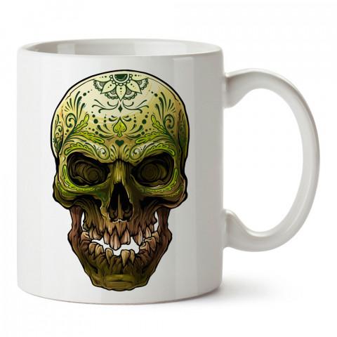 Yeşil Mandala Kuru Kafa tasarım baskılı kupa bardaklar. Kuru Kafa hediyelik mug bardak. Skull tasarım kahve kupası. Kuru Kafa hediye fikirleri. Kuru Kafa resim.