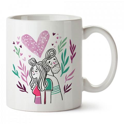 Mutlu Sevgililer tasarım baskılı porselen kupa bardak (mug). Sevgiliye hediye aşk içerikli kupa bardaklar. Sevgiliye en güzel hediye kupa. Sevgililer günü hediyesi kupa.