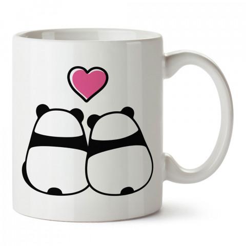 Panda Sevgililer tasarım baskılı porselen kupa bardak (mug). Sevgiliye hediye aşk içerikli kupa bardaklar. Sevgiliye en güzel hediye kupa. Sevgiliye kahve kupası.