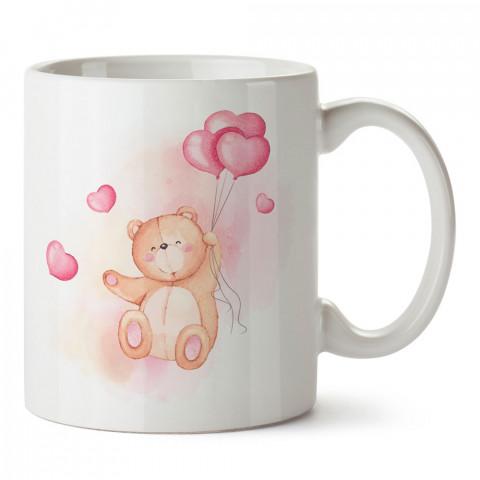 Pembe Kalp Balonlu Ayıcık tasarım baskılı porselen kupa bardak (mug). Sevgiliye hediye aşk içerikli kupa bardaklar. Sevgiliye en güzel hediye. Sevgiliye kahve kupası.