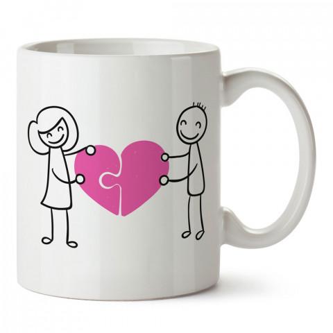 Puzzle Kalp Sevgililer tasarım baskılı porselen kupa bardak (mug). Sevgiliye hediye aşk içerikli kupa bardaklar. Sevgiliye en güzel hediye kupa. Sevgiliye kahve kupası.