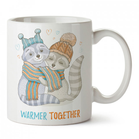 Rakun Sevgililer tasarım baskılı porselen kupa bardak (mug). Sevgiliye hediye aşk içerikli kupa bardaklar. Sevgiliye en güzel hediye kupa. Sevgiliye kahve kupası.