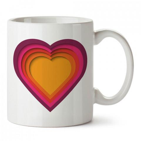 Renkli Kalpler tasarım baskılı porselen kupa bardak (mug). Sevgiliye hediye aşk içerikli kupa bardaklar. Sevgiliye en güzel hediye kupa. Sevgiliye kahve kupası.