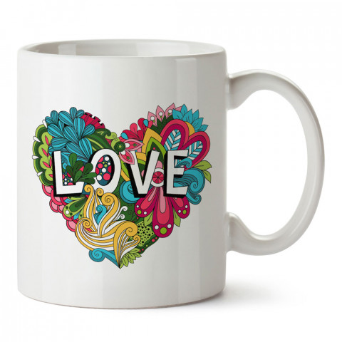 Renkli Kalp Love tasarım baskılı porselen kupa bardak (mug). Sevgiliye hediye aşk içerikli kupa bardaklar. Sevgiliye en güzel hediye kupa. Sevgiliye kahve kupası.