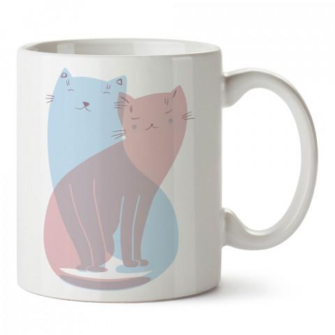 Sevgili Kedicikler tasarım baskılı porselen kupa bardak (mug). Sevgiliye hediye aşk içerikli kupa bardaklar. Sevgiliye en güzel hediye kupa. Sevgiliye kahve kupası.