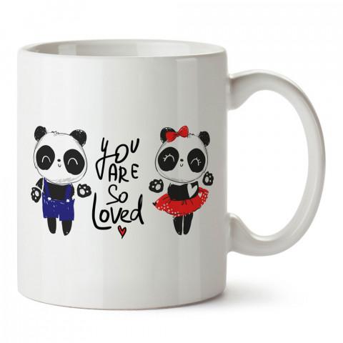 Sevgili Pandalar You Are So Loved tasarım baskılı porselen kupa bardak (mug). Sevgiliye hediye aşk içerikli kupa. Sevgiliye en güzel hediye kupa. Sevgiliye kahve kupası.