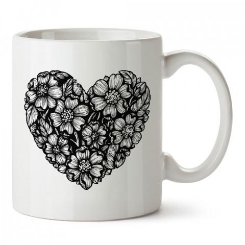 Siyah Beyaz Çiçek Desenli tasarım baskılı kupa bardak (mug). Sevgiliye hediye aşk içerikli kupa bardaklar. Sevgiliye en güzel hediye kupa. Sevgiliye kahve kupası.