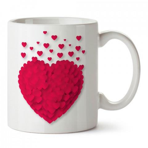 Uçuşan Kalpler tasarım baskılı porselen kupa bardak (mug). Sevgiliye hediye aşk içerikli kupa bardaklar. Sevgiliye en güzel hediye kupa. Sevgiliye kahve kupası.