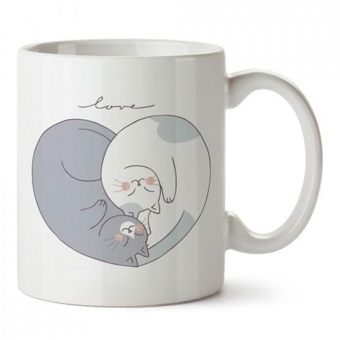 Yin Yang Kalp Denge tasarım baskılı porselen kupa bardak (mug). Sevgiliye hediye aşk içerikli kupa bardaklar. Sevgiliye en güzel hediye kupa. Sevgiliye kahve kupası.