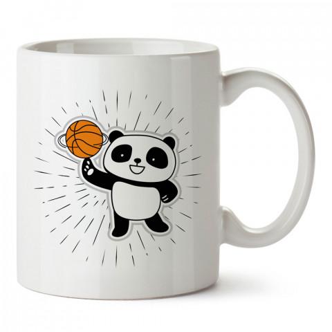Basketbolcu Panda baskılı tasarım kupa bardak (mug bardak). Basketbol baskılı kupa bardak modelleri. Basketbolculara hediyelik kahve kupası. Basketbolcuya hediye.