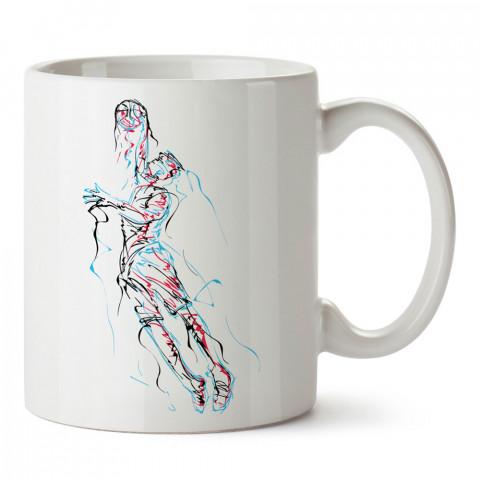 Basketbolcu Ruhu Desenli baskılı tasarım kupa bardak (mug bardak). Basketbol baskılı kupa bardak modelleri. Basketbolculara hediyelik kahve kupası. Basketbolcuya hediye.