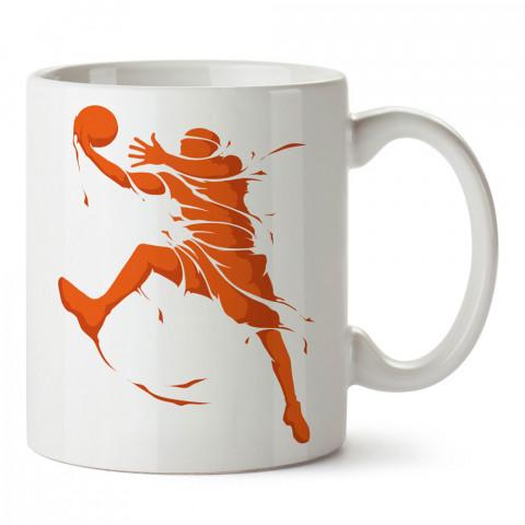 Basketbolcu Ruhu Turnike baskılı tasarım kupa bardak (mug bardak). Basketbol baskılı kupa bardak modelleri. Basketbolculara hediyelik kahve kupası. Basketbolcuya hediye.