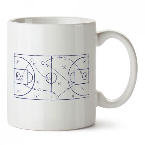 Basketbol Taktik Tahtası baskılı tasarım kupa bardak (mug bardak). Basketbol baskılı kupa bardak modelleri. Basketbolculara hediyelik kahve kupası. Basketbolcuya hediye.