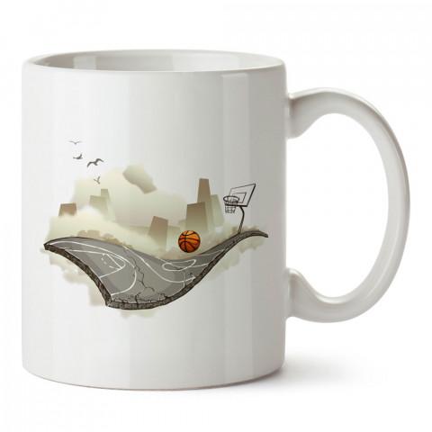 Uçan Basketbol Sahası baskılı tasarım kupa bardak (mug bardak). Basketbol baskılı kupa bardak modelleri. Basketbolculara hediyelik kahve kupası. Basketbolcuya hediye.