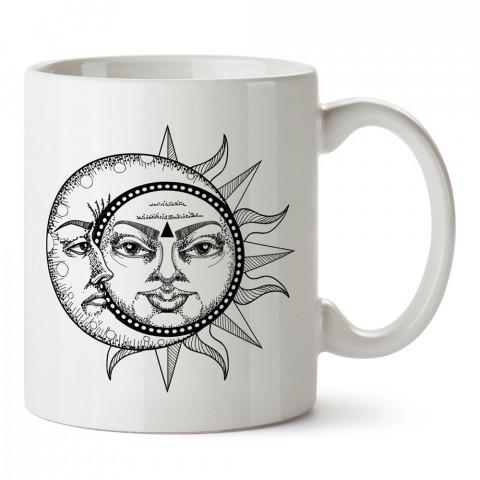 Ay ve Güneş Astroloji tasarımlı kupa bardak. Ay için Mug. Burç severlere astrolojik desenli en güzel hediyelik kupa bardaklar. Güneş sevenlere hediye. Uzay temalı hediye.