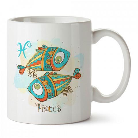 Balık Burcu Geometrik Astroloji tasarımlı kupa bardak. Balık burcu için Mug. Burç severlere astrolojik desenli en güzel hediyelik kupa bardaklar. Balık burcuna hediye.