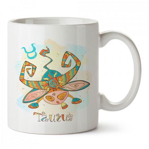 Boğa Burcu Geometrik Astroloji tasarımlı kupa bardak. Boğa burcu için Mug. Burç severlere astrolojik desenli en güzel hediyelik kupa bardaklar. Boğa burcuna hediye.