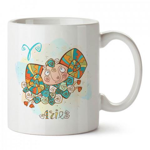 Koç Burcu Geometrik Astroloji tasarımlı kupa bardak. Koç burcu için Mug. Burç severlere astrolojik desenli en güzel hediyelik kupa bardaklar. Koç burcuna hediye.