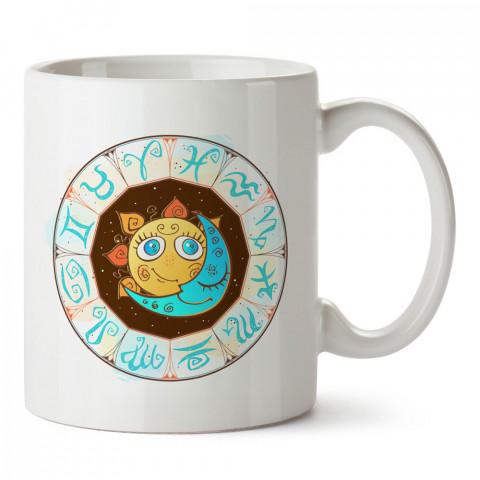 Sevimli Astroloji Haritası tasarımlı kupa bardak. Burç severlere astrolojik desenli en güzel hediyelik kupa bardaklar. Güneş sevenlere hediye. Uzay temalı hediye.
