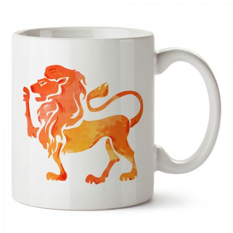 Aslan Burcu Geometrik Astroloji tasarımlı kupa bardak. Aslan burcu için Mug. Burç severlere astrolojik desenli en güzel hediyelik kupa bardaklar. Aslan burcuna hediye.