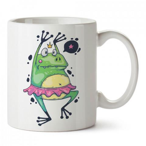 Balerin Kurbağa Dans baskılı tasarım kupa bardak (mug bardak). Dansçıya hediye kupa bardak modelleri. Dansçılara hediyelik kahve kupası. Dans sevenlere tasarım hediye.