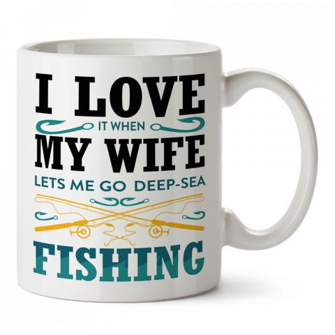 Derin Deniz Balıkçılığı baskılı tasarım kupa bardak (mug bardak). Balıkçıya hediye kupa modelleri. Balıkçılara hediyelik kahve kupası. Balıkçılık sporu konulu hediye.