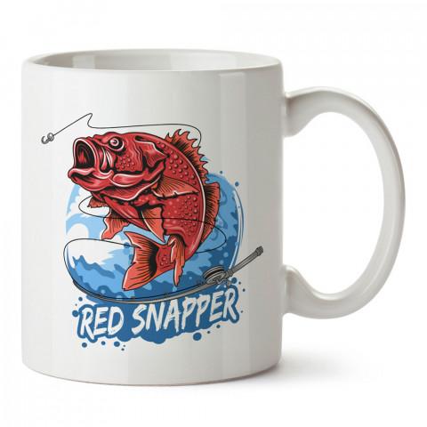 Kırmızı Mercan Balığı baskılı tasarım kupa (mug bardak). Balıkçıya hediye kupa bardak modelleri. Balıkçılara hediyelik kahve kupası. Balıkçılık sporu konulu hediye.