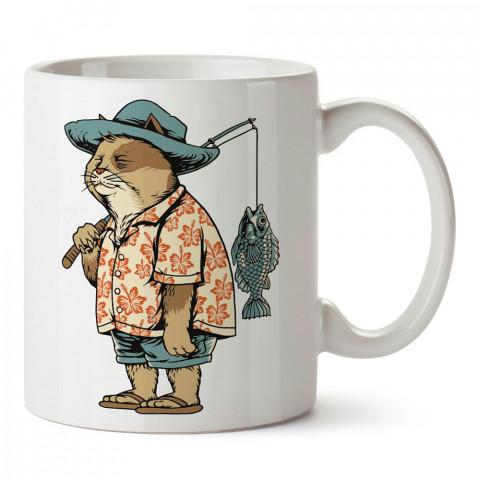 Yaşlı Balıkçı Kedi baskılı tasarım kupa bardak (mug bardak). Balıkçıya hediye kupa bardak modelleri. Balıkçılara hediyelik kahve kupası. Balıkçılık sporu konulu hediye.