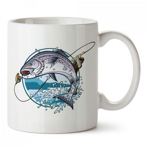 Zoka Yutmuş Balık baskılı tasarım kupa bardak (mug bardak). Balıkçıya hediye kupa bardak modelleri. Balıkçılara hediyelik kahve kupası. Balıkçılık sporu konulu hediye.