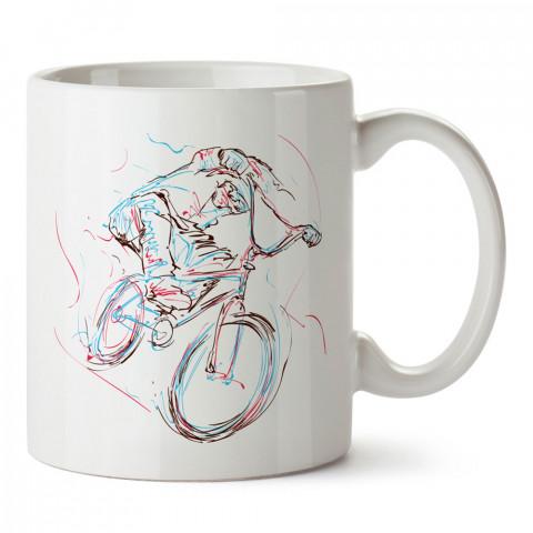 Bisikletçi Ruhu tasarım baskılı porselen kupa bardak (mug). Bisikletçiler için en güzel hediye. Bisikletçilere hediye kahve kupası. Bisikletçiye alınabilecek hediyeler.