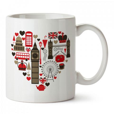 İngiltere Sembollerinden Kalp tasarım kupa bardak (mug bardak). Ülke ve şehir temalı hediye çeşitleri. İngiltere desenli hediyelik kahve kupası. Turizm ve tatil hediyesi.