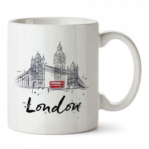 London Köprüsü ve Çift Katlı Otobüs tasarım kupa bardak (mug). Ülke ve şehir temalı hediye çeşitleri. İngiltere desenli hediyelik kahve kupası. Turizm ve tatil hediyesi.