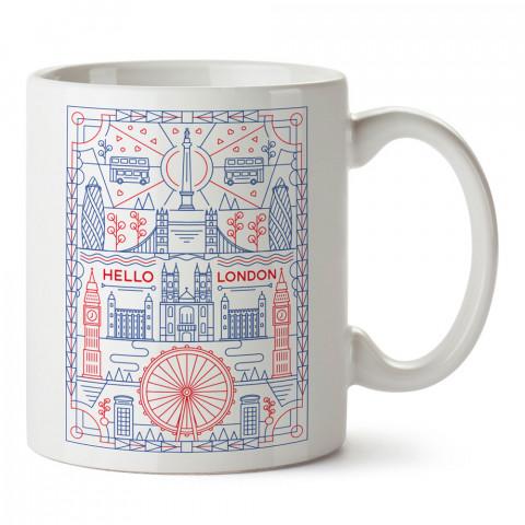Merhaba Londra Minimal Çizim tasarım kupa bardak (mug bardak). Ülke ve şehir temalı hediye çeşitleri. İngiltere desenli hediyelik kahve kupası. Turizm ve tatil hediyesi.