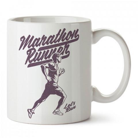 Marathon Runner baskılı tasarım kupa bardak (mug bardak). Koşucuya hediye kupa bardak modelleri. Koşuculara hediyelik kahve kupası. Koşu sporu konulu hediye.