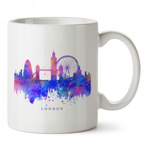 Watercolor Londra Simgesi İngiltere tasarım kupa bardak (mug). Ülke ve şehir temalı hediye çeşitleri. İngiltere desenli hediyelik kahve kupası. Turizm ve tatil hediyesi.