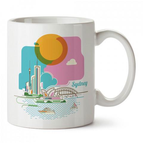 Renkli Sidney Avustralya tasarım kupa bardak (mug bardak). Ülke ve şehir temalı hediye çeşitleri. İngiltere desenli hediyelik kahve kupası. Turizm ve tatil hediyeleri.